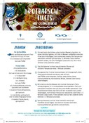 Recipe card for redfish with quinoa salad (German)