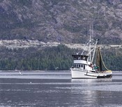 MIC AIR salmon - boat fishing in front of mountain
