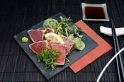 seared tuna dish