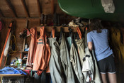Emily Taylor hanging fishing gear up | Wild Alaska Salmon Fishery Visit, Bristol Bay
