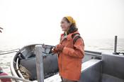 Emily Taylor on fishing boat | Wild Alaska Salmon Fishery Visit, Bristol Bay