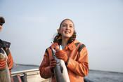 Emily Taylor holding salmon | Wild Alaska Salmon Fishery Visit, Bristol Bay