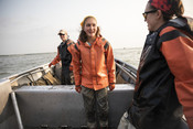 Emily Taylor on fishing boat | Wild Alaska Salmon Fishery Visit, Bristol Bay