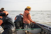 Emily Taylor and fishermen on fishing boat | Wild Alaska Salmon Fishery Visit, Bristol Bay