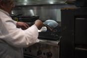 Cooking, grilled salmon   Wild Alaska Salmon Fishery Visit, Bristol Bay