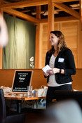 Emily Tripp speaking at Sustainable Seafood Happy Hour: Salmon in Seattle