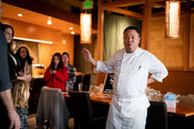 Chef Taichi speaking at Sustainable Seafood Happy Hour: Salmon in Seattle