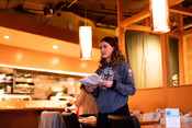 Emily Taylor speaking at Sustainable Seafood Happy Hour: Salmon in Seattle