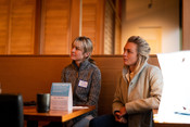 Listening to speakers at Sustainable Seafood Happy Hour: Salmon in Seattle
