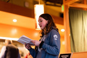 Emily speaking at Sustainable Seafood Happy Hour: Salmon in Seattle