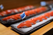 Soy and yuzu marinated sockeye nigiri at Sustainable Seafood Happy Hour: Salmon in Seattle