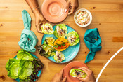 Surimi Cucumber Mango California Lettuce Wraps - recipe & product photography
