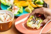Surimi Cucumber Mango California Lettuce Wraps - recipe & product photography