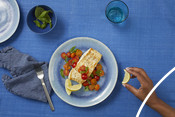 Plated Halibut Dish - Good for you and the ocean too campaign 2020