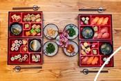 Bento-style box of seafood