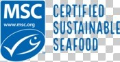 "MSC portrait ecolabel lockup with ""Certified sustainable seafood"""