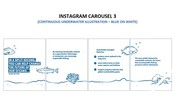 Insta Carousel 3 - Continuous underwater illustration (blue on white)