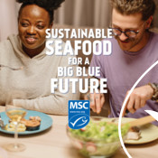 Discovery Ad Graphic (dinner table conversation) - Seafood Month Campaign