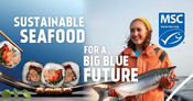 Static Digital Ad - Fisherman and salmon - National Seafood Month Partner Resources