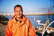 Fisherman from The Yalu Estuary Manila clam fishery
