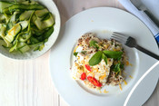 Asian style cod with zesty celeriac quinoa and courgette and cucumber salad