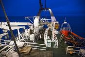 The Helmar Hanssen research ship running sample trawls