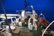 The Helmar Hanssen research ship running sample trawls