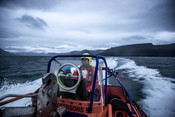 Fisheries inspection officers from the Norwegian Coastguard (Kystvakten) en route to a fisheries inspection.