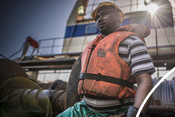 Fisherman looking into the distance south african Hake fishery