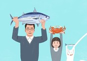 Family cat crab illustration marketing